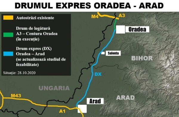 Harta drum expres Oradea Arad